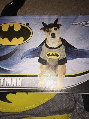 "Dogs Costume Batman Size Small Halloween Super dog Chest 12"" Neck 7"" Teacup New"