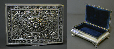 Gorgeous Marked Spanish Solid Silver Jewelry Box Flowers