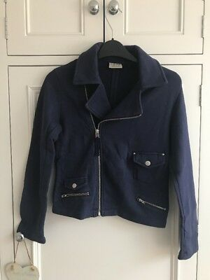 Gorgeous Next Girls Jacket Navy Blue Zip Age 10  Cotton Immaculate