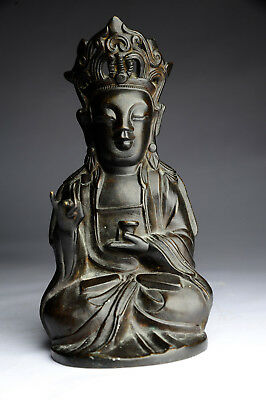 Antiker Buddha China Signatur Bronze Guan Yin antique Ming Stil B33a