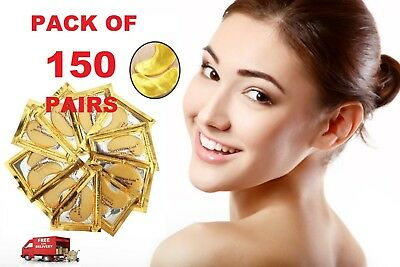50 100 150 Pairs Crystal Collagen Premium 24k Gold EYE MASK Anti-Aging/Wrinkle