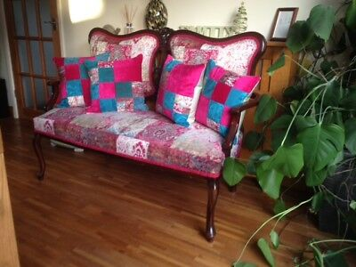 Antique sofa settee - Edwardian, newly refurbished,cabriolet legs, courier poss*
