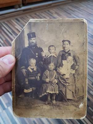 RRR Very rare early Bulgarian Princely photo soldier with his family 1886