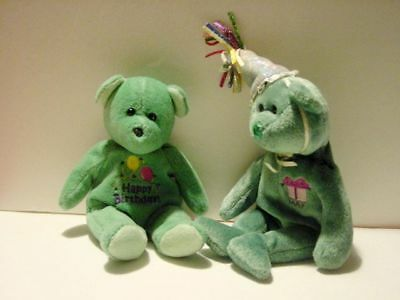 MAY the TY Bear & HAPPY BIRTHDAY BEAR RETIRED The Beanie Babies Collection 2002