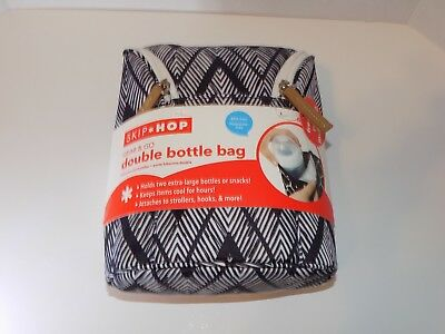 Skip Hop Grab & Go Double Bottle Bag, Zig Zag Zebra