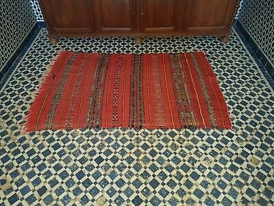 Original antique moroccan wool kilim handmade carpet berber
