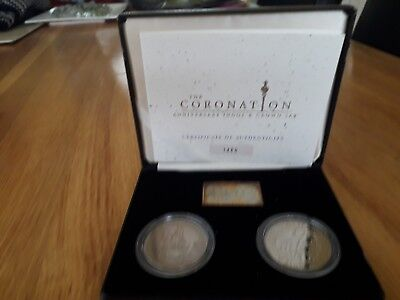 Coronation Crowns And Silver Ingot Anniversary Set.
