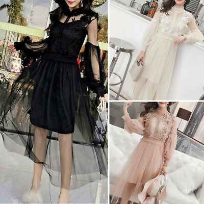 Dress Full Length Hollow Out Mesh Summer Floral Retro Vintage Dresses Womens