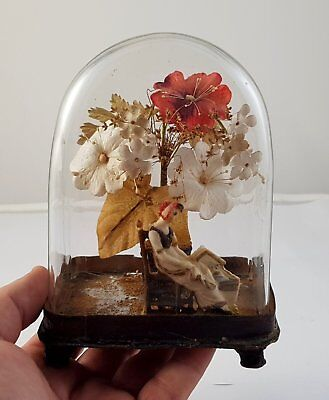 ANTIQUE VICTORIAN WAX VALENTINE Diorama GLASS DOME MOTHER & CHILD in a Cradle