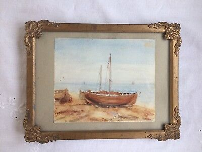 Sweet Little Victorian Watercolour of Boats in Gilt Frame