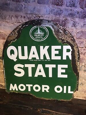 Vintage double sided Quaker State oil tombstone sign Metal Rusty Gas Station