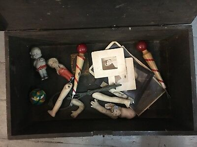Antique French Box With Contents (job lot)