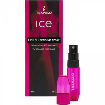"""Travalo Ice Easy Fill Perfume Spray Vaporisateur Rechrgeable """"Pink"""" 5ml W7742"""