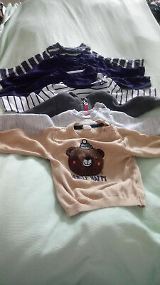 7 Long sleeve baby boy tops 6-9 months baby clothes bundle Primark F&F H&M