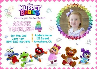personalized muppet babies birthday invite dig file you print