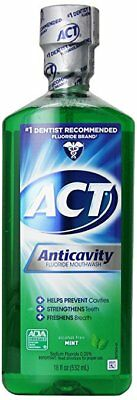 ACT Alcohol Free Anticavity Fluoride Rinse, Mint - 18 oz (7 Pack)