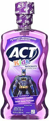 ACT Kids Anticavity Fluoride Rinse, Fruit Punch, 16.9 oz (3 Pack)