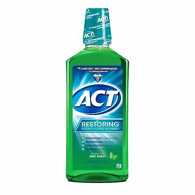 ACT Restoring Anticavity Fluoride Rinse, Mint Burst, 33.8 oz (8 Pack)