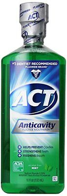 ACT Alcohol Free Anticavity Fluoride Rinse, Mint - 18 oz (9 Pack)
