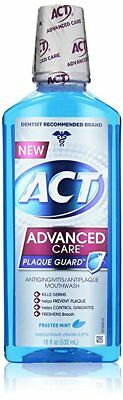 ACT Advanced Care Plaque Guard Mouthwash, Frosted Mint, 18 oz (6 Pack)