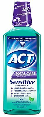 ACT Total Care Sensitive Anticavity Fluoride Rinse, Mint, 18 oz (8 Pack)