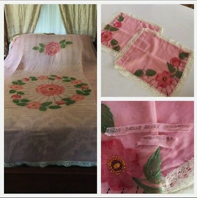 Charming 1920s Bucilla Floral Embroidered Voile Coverlet w/ 2 Pillow Shams