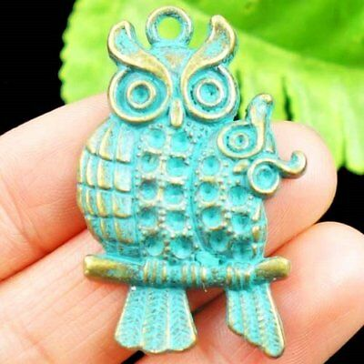 Carved Bronze Brass Owl Pendant Bead 43x28x4mm D23575