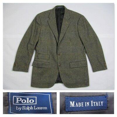 Polo Ralph Lauren 40R CASHMERE Houndstooth Blazer Sport Coat Jacket 40 R Italy