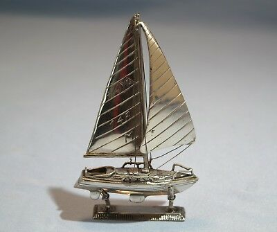 Italian Sterling Silver Model of Sail Boat w/Stand 1950s