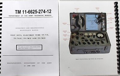 *USA* TV-7D/U TV-7 Tube Tester Operators Manual  W/ COLOR PICTURES