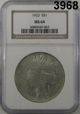 1923 Peace Silver Dollar Ngc Certified Ms64  Flashy Luster #3968