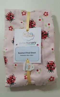New Girls bassinet/pram/ cradle FITTED FLANNEL  sheet - Ladybugs