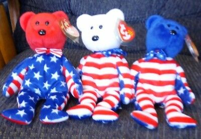 LIBERTY ty beanie babies...RED, WHITE & BLUE! All 3 bears...Mint condition!