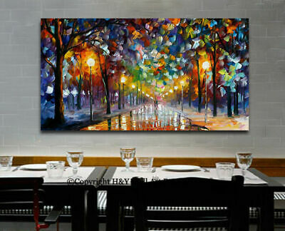Romantic Winter Night Stretched Canvas Print Framed Wall Art Home Decor Painting