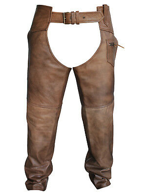 Vintage Tan Brown Classic Motorcycle Horse Riding Unisex Leather Chaps Matching