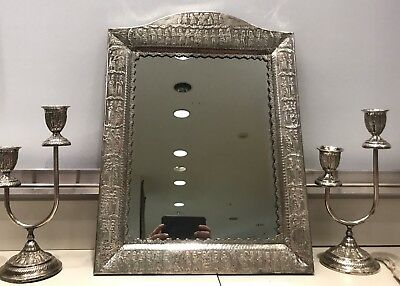 Persian Takht e jamshid silver mirror and candle holders 3 piece set