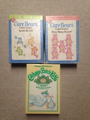 Lot Of 3 Vintage Parker Brothers Care Bears & Cabbage Patch Card Games