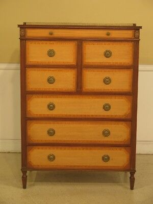 F43860EC: KITTINGER Regency Style Mahogany & Satinwood High Chest