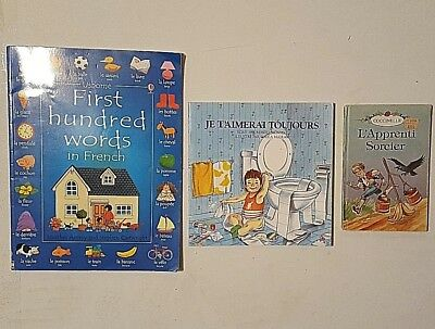 Lot of 3 Childrens French Picture Books Usborne First 100 Words