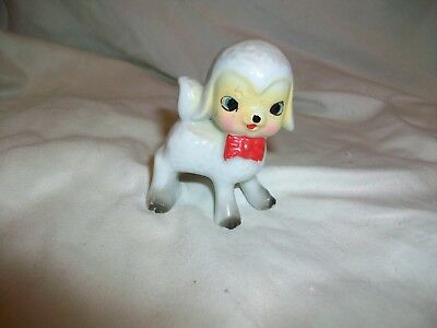 Vintage Porcelain Ceramic White Lamb Figurine Japan Red Bow