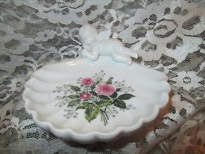 """Vintage Angel & Pink Roses Soap Dish, 1950's EUC, """"Get Your Shabby Chic On!"""""""