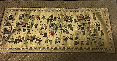 Antique Chinese Silk Wall Tapestry With 100 Playing ChildreN