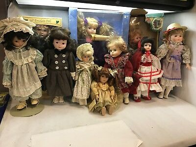 Lot of 11 Vintage PORCELAIN DOLLS in Varying SIZE and STYLE