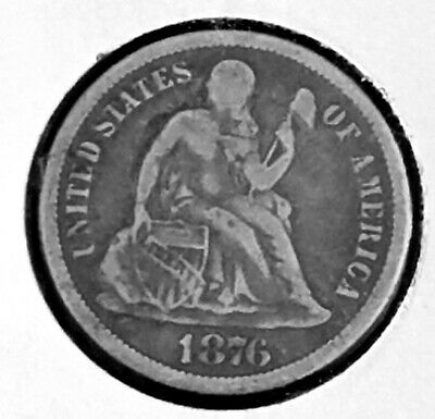 1876 CC Seated Dime Silver, Full Shield Carson City Mint