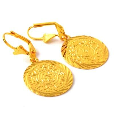 Coin shape 18k Yellow Gold Filled  Engagement Jewelry Classical  Earrings