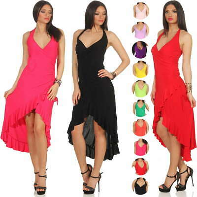 Ladies Latin Salsa Dress Mullet Halter Neck Dance Maxi Stretch Valance 10 12 S M