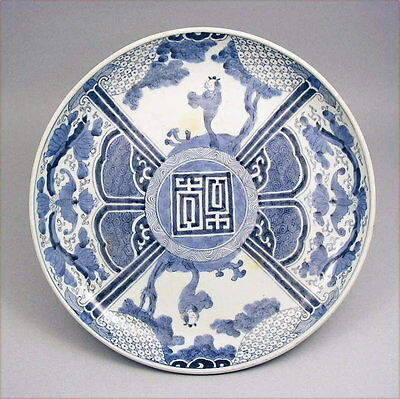 Very Unique Japanese Ko Imari Sometsuke Charger 19c