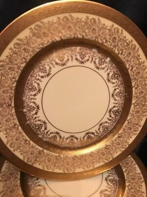 "Set of 6 Heinrich & Co. Selb Bavaria Gold Encrusted Porcelain Dinner Plates 11""D"