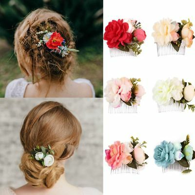 Wedding Bridal  Flower Hair Pins Bridesmaid Clips Side Comb For Wedding Party