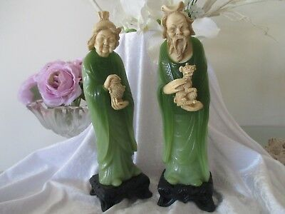 Two Lovely Rare Old Chinese Wise Man And Lady Made In Italy